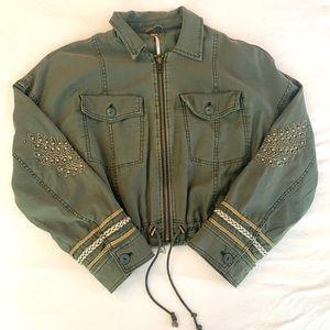 FP Embellished Cropped Military Jacket